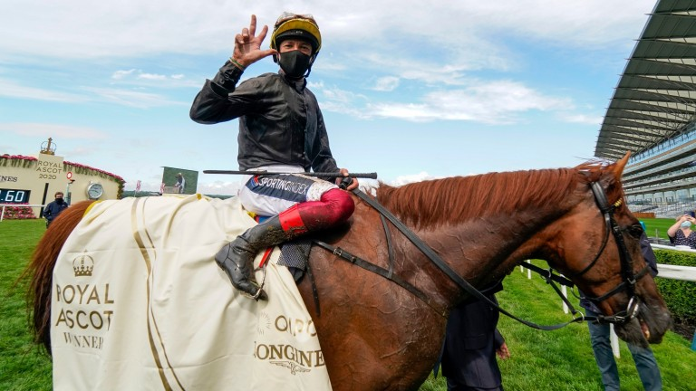 Frankie Dettori celebrates after Stradivarius won the Gold Cup at Ascot for the third time last June