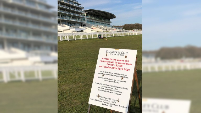 The footpaths that criss-cross Epsom Downs will be closed to the public on Tuesday as the course races for the first time since last July