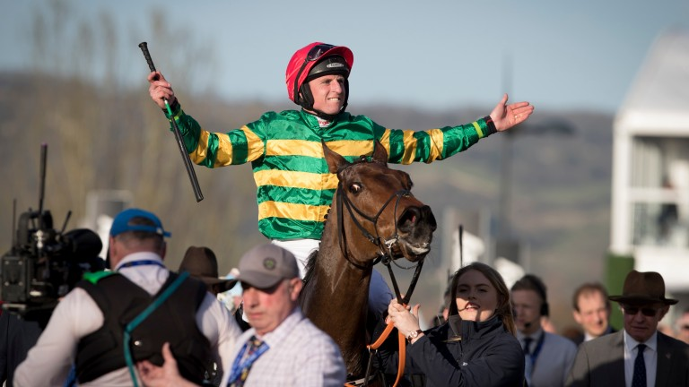 Jamie Codd celebrates victory on Cause Of Causes at Cheltenham in 2017