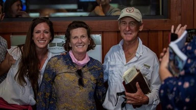 All smiles for Leah O'Meara, Marette Farrell (centre) and Nick de Meric