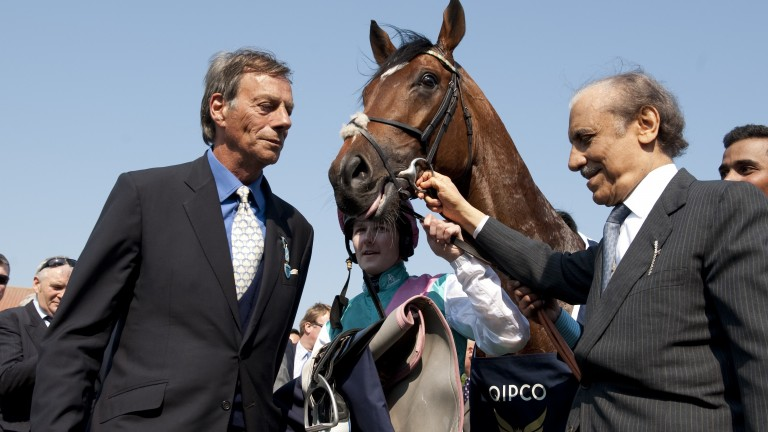 The late Prince Khalid Abdullah and Sir Henry Cecil with Frankel after the 2,000 Guineas