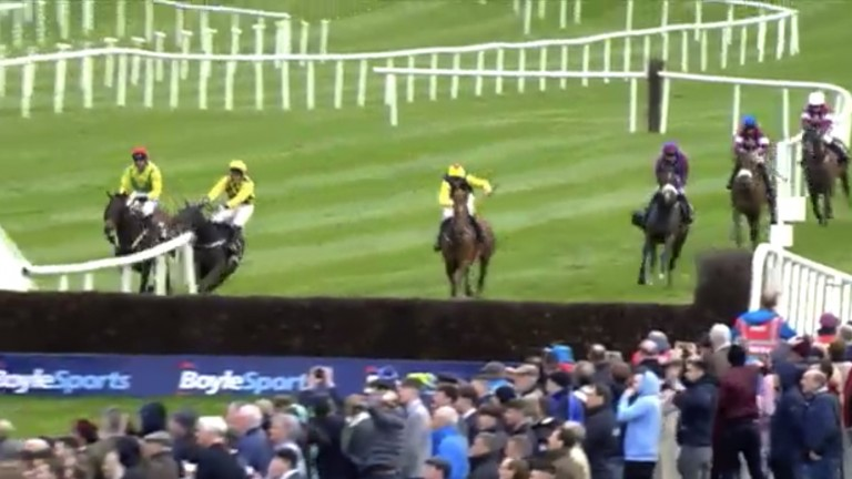 Al Boum Photo and Paul Townend (second left) run out at the 2018 Punchestown festival