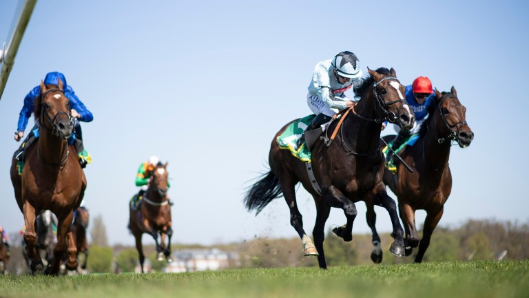 Alenquer (Tom Marquand,2nd right) wins the Classic trial beating Adayar (R) and Yibir (L)Sandown 23.4.21 Pic: Edward Whitaker/Racing Post
