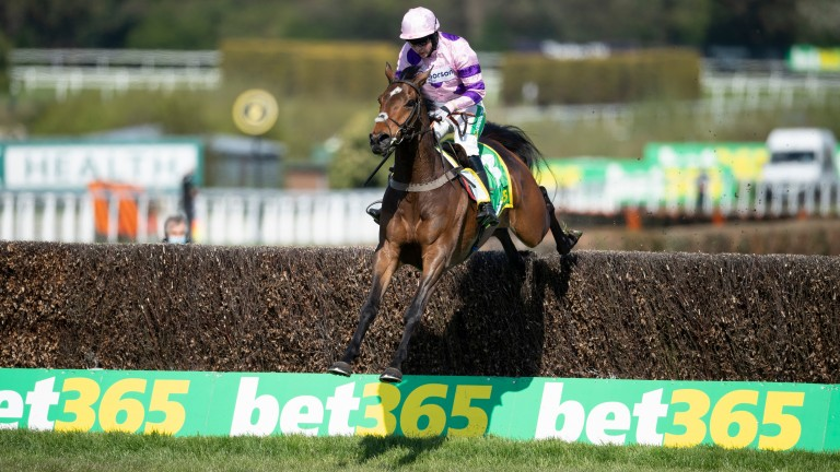 Greaneteen jumps the last fence under Bryony Frost to win the Celebration Chase