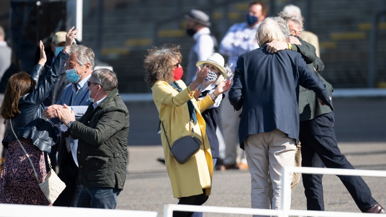 Enrilo's owners celebrate winning the bet365 Gold Cup, but their joy was shortlived