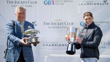 Champion trainer Paul Nicholls (L) and Champion jockey Harry SkeltonSandown 24..4.21 Pic: Edward Whitaker/Racing Post