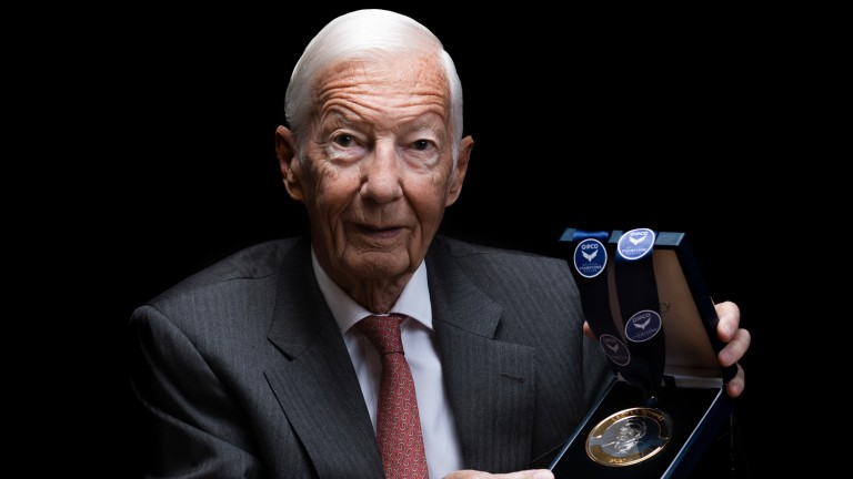 Lester Piggott poses with the medal marking his induction to the Qipco British Champions Series Hall of Fame