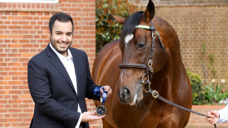 Sheikh Fahad presenting Frankel with British Champions Series Hall Of Fame medal Banstead Manor Stud