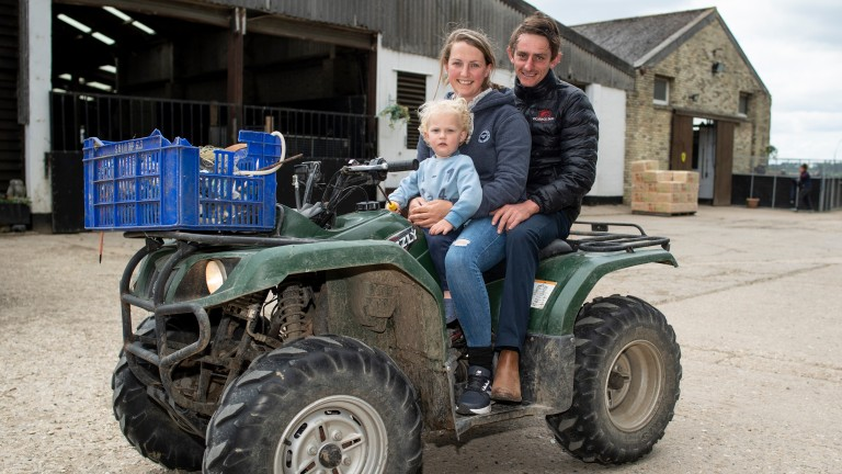 Megan Evans with partner Adam Kirby and son Charlie at Vicarage Farm