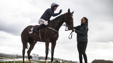 Colreevy and Danny Mullins with groom Aimee Morrissey after winning the Grade 1 Champions Novice Chase.Punchestown Festival.Photo: Patrick McCann/Racing Post27.04.2021