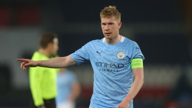 Kevin de Bruyne of Premier League champions Manchester City