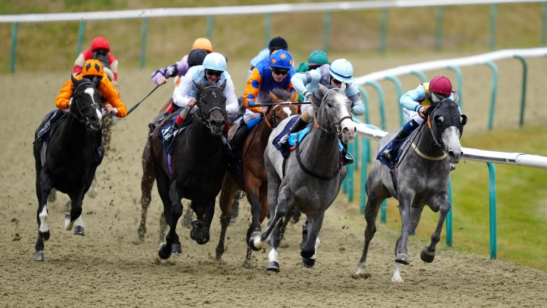 The grey Mighty Power claims his first win at Lingfield