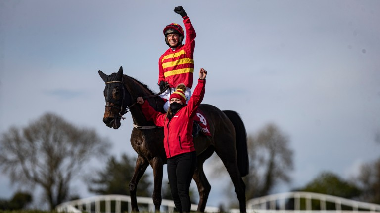 A punch of the arms as Klassical Dream is victorious at Punchestown