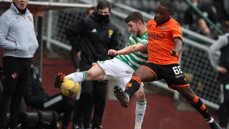 Dundee United's Jeando Fuchs in action against Celtic