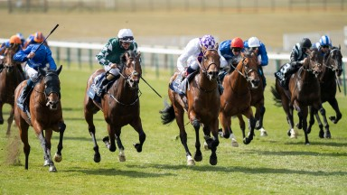 Poetic Flare (third left) beats master Of The Seas (left) and Lucky Vega (2nd left) in the Qipco 2,000 Guineas at Newmarket