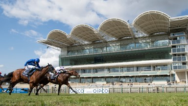 Poetic Flare (Kevin Manning, white) beats Master Of The Seas in a photo to win the Qipco 2,000 Guineas for trainer Jim Bolger