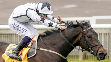 NEWMARKET, ENGLAND - MAY 02: Ben Curtis riding Mystery Angel win The Betfair Pretty Polly Stakes at Newmarket Racecourse on May 02, 2021 in Newmarket, England. Only owners are allowed to attend the meeting but the public must wait until further restrictio