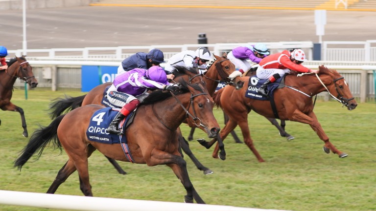 Saffron Beach and Adam Kirby (red silks) chase home Mother Earth in the 1,000 Guineas
