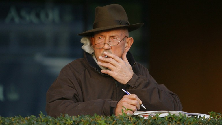 Barney Curley studies the form at Ascot