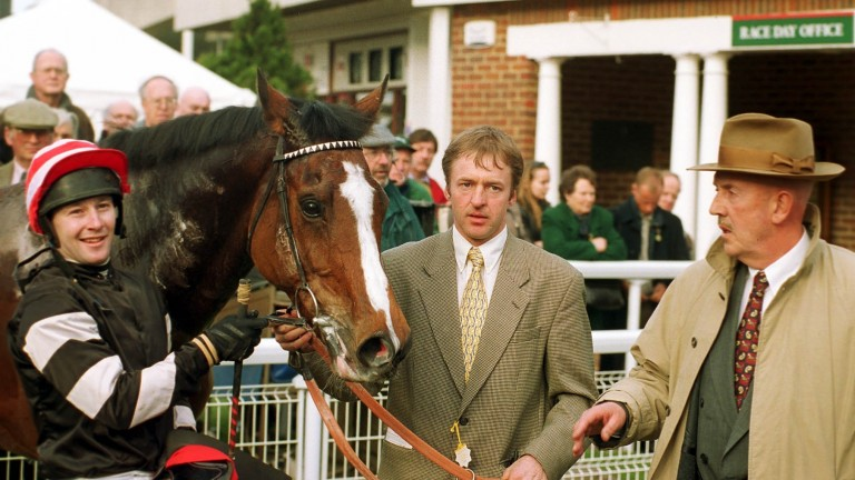 Imperial Cup winner Magic Combination with jockey David Casey (left) and trainer Barney Curley (right)
