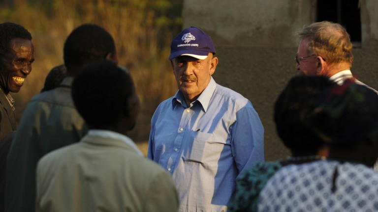 Barney Curley and Father Eugene O'Reilly at a community homebase care project on the road to Ndola, Zambia in 2006