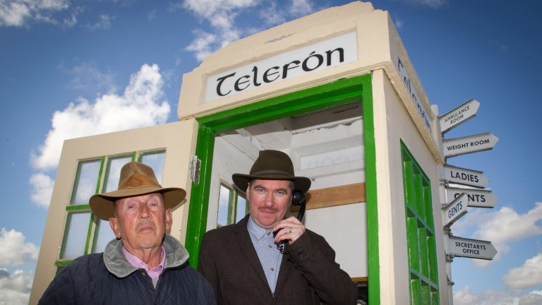 Barney Curley meets actor Padraic McIntyre at the phone box made famous from the Yellow Sam coup