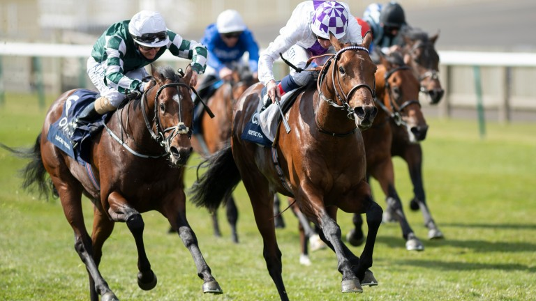 Lucky Vega (left) is beaten a short head and a neck in finishing third to Poetic Flare (right) in the 2,000 Guineas