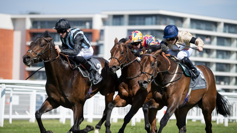 The Lir Jet (centre) finishes third to Chindit (left) in the Greenham Stakes at Newbury 18.4.21 Pic: Edward Whitaker/Racing Post