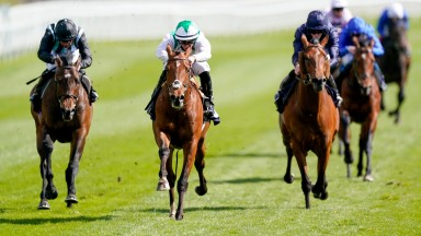 Youth Spirit (white) wins the Group 3 Chester Vase Stakes