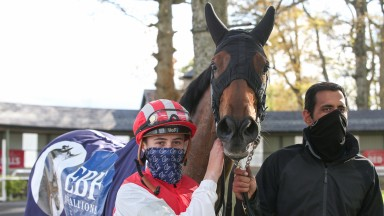 Gowran Park Wed 5 May 2021Mighty Blue and Dylan Browne McMonagle after winning The Irish Stallion Farms EBF Vintage Tipple StakesPhoto.carolinenorris.ie
