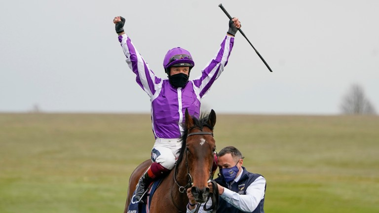 Frankie Dettori celebrates after guiding Mother Earth to success in the 1,000 Guineas