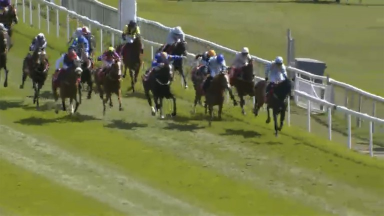 Dettori and Falcon Eight (left) start to bear down on the leaders up the home straight