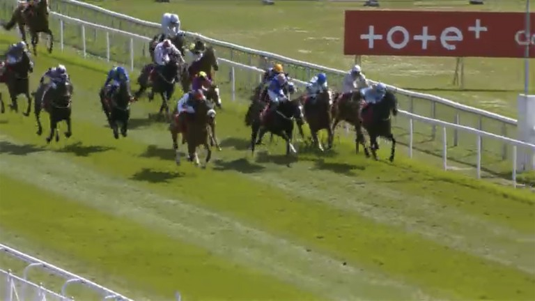 Dettori's mount quickens up impressively, hitting the front within a matter of strides