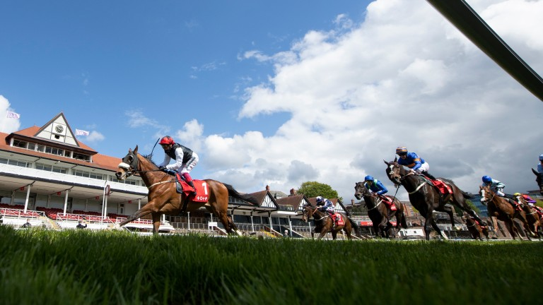 Falcon Eight (Frankie Dettori) wins the Chester CupChester 7.5.21 pic: Edward Whitaker/Racing Post