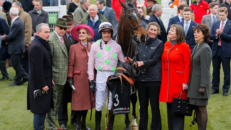 Douvan and connections after his win in the Arkle at Cheltenham in 2016
