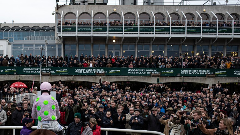 Paul Townend and Faugheen get a rapturous reception after winning the Grade 1 Flogas Novice Chase at Leopardstown in 2020