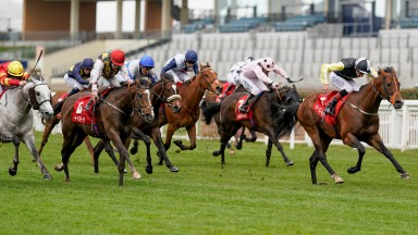 ASCOT, ENGLAND - MAY 08: Adam Kirby riding River Nymph (R) win The tote+ Victoria Cup at Ascot Racecourse on May 08, 2021 in Ascot, England. Only owners are allowed to attend the meeting but the public must wait until further restrictions are lifted. (Pho