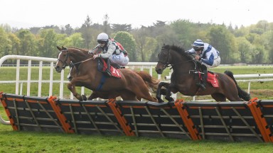 Call Me Freddie and Rachel Blackmore (centre) winning Division 2 of the Mallow Handicap Hurdle at Cork Racecourse.Picture: David Keane.Racing Post/08.05.2021