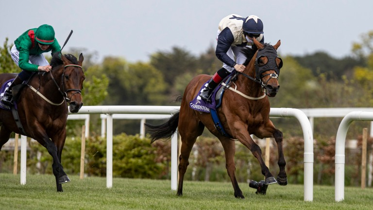 Maker Of Kings and Colin Keane are clear in the Group 3 Amethyst Stakes at Leopardstown