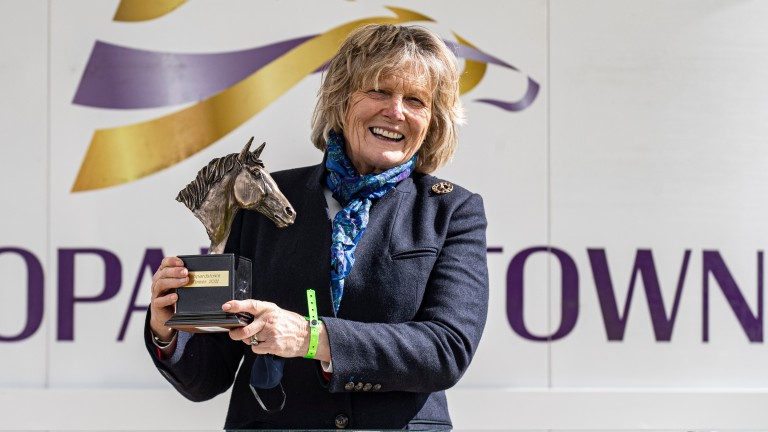 Jessica Harrington with the trophy after Tauran Shaman's 1m2f handicap win at Leopardstown