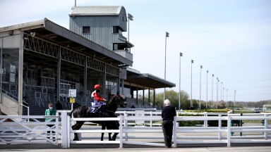 Seventeen O Four ridden by Harrison Shaw make their way out at Southwell Racecourse