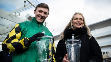Adam Wedge and Rebecca Curtis after Lisnagar Oscar had won the Stayers Hurdle