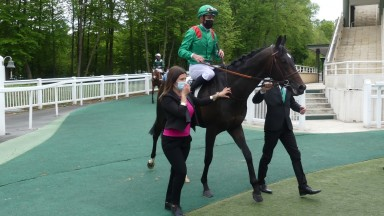 Makaloun and Christophe Soumillon return to the Chantilly winners' enclosure after landing the Group 3 Prix de Guiche
