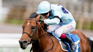 YORK, ENGLAND - MAY 12: Oisin Murphy riding Starman win The Duke Of York Clipper Logistics Stakes at York Racecourse on May 12, 2021 in York, England. Only owners are allowed to attend the meeting but the public must wait until further restrictions are li
