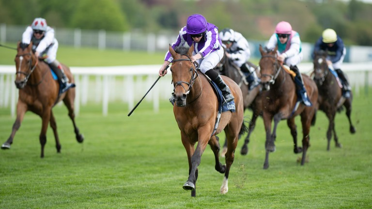 Snowfall (purple) was allowed to dominate the Musidora Stakes under Ryan Moore