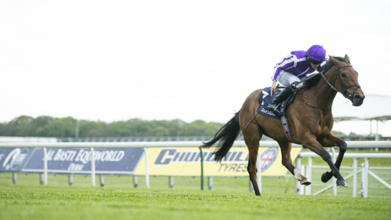Snowfall and Ryan Moore come home in isolation in the Tattersalls Musidora Stakes