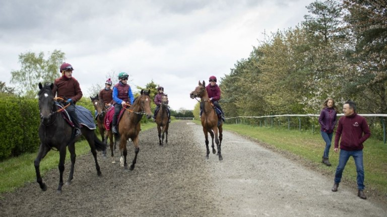 Darryll Holland monitoring proceedings on the gallops as Kieren Fallon rides out