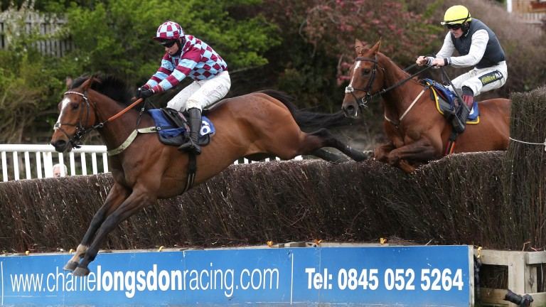 Atlantic Storm (far): clears a fence on the way to a fourth win at Stratford