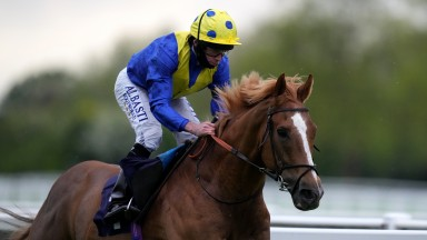 WINDSOR, ENGLAND - MAY 17: Dream Of Dreams ridden by Ryan Moore after winning the Weatherbys ePassport Stakes at Windsor Racecourse on May 17, 2021 in Windsor, England. (Photo by John Walton - Pool/Getty Images)