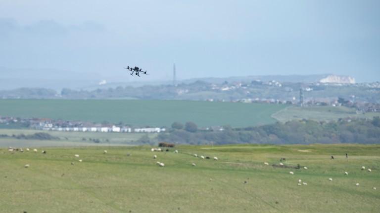A drone flies over Brighton racecourse on Tuesday